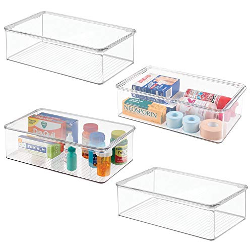 (mDesign Stackable Plastic Storage Bin Box with Hinged Lid - Organizer for Vitamins, Supplements, Serums, Essential Oils, Medicine Pill Bottles, Adhesive Bandages, First Aid Supplies - 4 Pack - Clear)