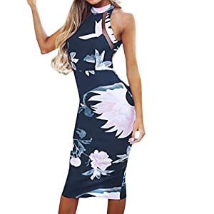 6d3b7d4c1 Vestido Estampado de Mujer de Vestido sin Manga de Sexy Vestido Fuera del Hombro  de Vestido de cóctel Bodycon de Vestido De Noche De Fiesta Ocasional