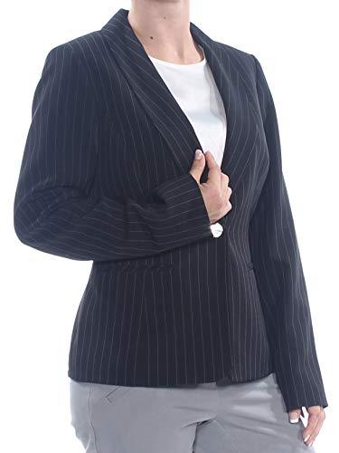 Kasper Women's 1 Button Shawl Neck Stretch Crepe Pinstripe Jacket, Black/Vanilla ICE, 6