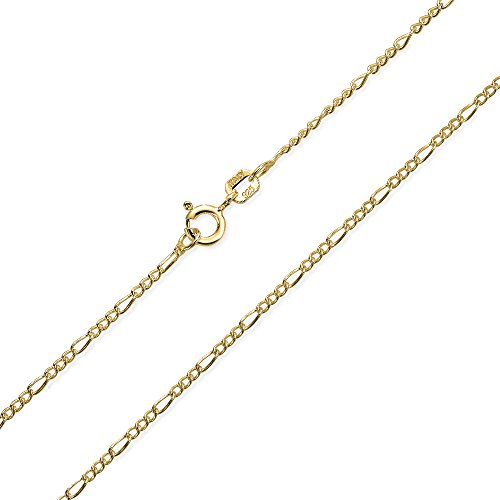 Thin Figaro Link Chain 40 Gauge For Women For Men Necklace 14K Gold Plated 925 Sterling Silver Made In Italy 20 Inch
