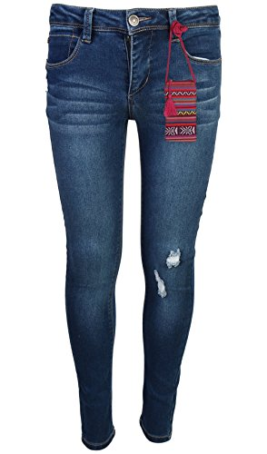 Girls Slim Straight Jean - WallFlower Girl's Skinny Soft Strech Jeans, Dark Wash w/Purse, Size 6