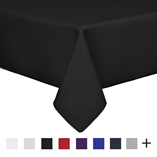 Remedios 90 x 132-inch Rectangle Polyester Tablecloth Table Cover - Wedding Restaurant Party Banquet Decoration, Black