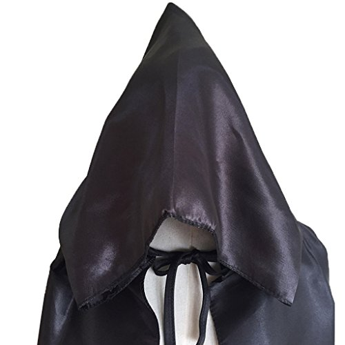 Charming House Halloween Unisex Hooded Long Cape Cloak Cosplay Costume (Black) by Charming House (Image #3)