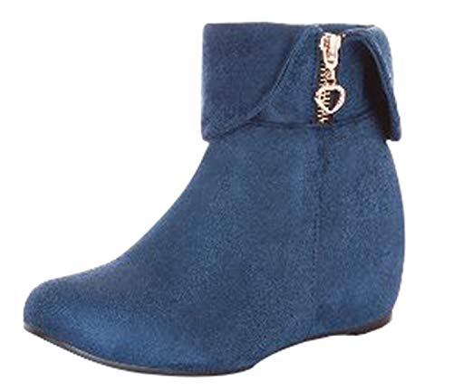 WSKEISP Women's Top Sell Pointed-Toes Zipper Fold Down Ankle High Faux Suede Booties Blue