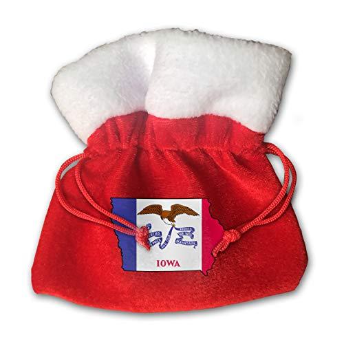 NRIEG Iowa Flag Map Christmas Candy Bags Santa Claus Gift Treat Sacks with Drawstring Xmas Stocking Ornaments Decor Handbag