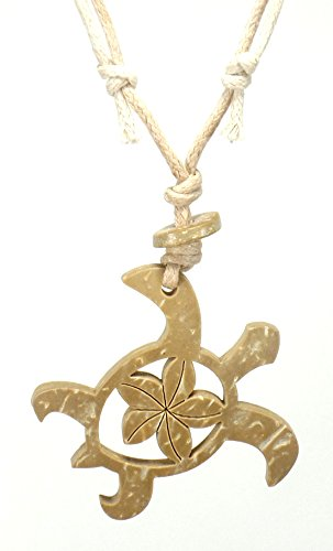 Hawaiian Turtle Necklace -Turtle Carved in Coconut Shell Koa Wood Pendant - Wood Turtle Pendant (Sand Color)