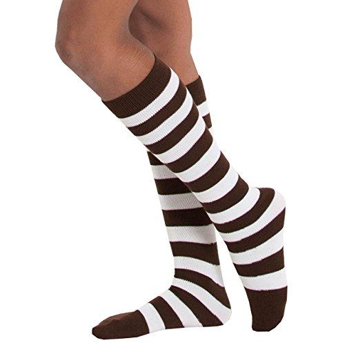 Chrissy's Socks Women's Striped Knee High Socks 7-11 Brown / White