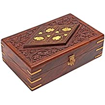 Diwali Gifts Hand Carved Decorative Wooden Jewelry Trinket Holder Organizer Keepsake Storage Box Chest with Brass Inlay