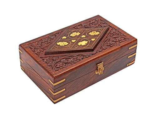 Carved Wood Trinket (Diwali Gifts Hand Carved Decorative Wooden Jewelry Trinket Holder Organizer Keepsake Storage Box Chest with Brass Inlay)