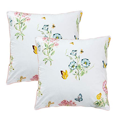 FADFAY Throw Pillow Cover 2Pcs 18X18 Inch 100% Egyptian Cotton Euro Shams Elegant Butterfly Meadow Decorative Pillow Case Home Sofa Cushion Set