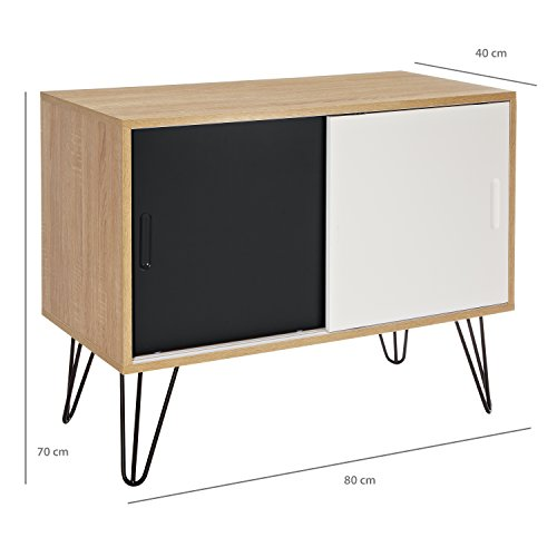lomos kommode aus holz mit zwei schiebet ren im modernen retro design k chenausstattung. Black Bedroom Furniture Sets. Home Design Ideas