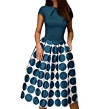 Womens Dresses Vintage Short Sleeve Dot Printed Cocktail Flowy Swing Formal Dress for Party,Wedding (S, Blue)
