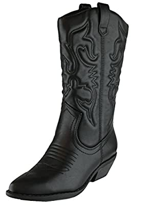 Cambridge Select Women's Western Pointed Toe Mid-Calf Cowboy Boot