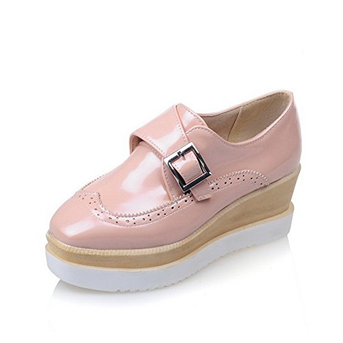 Pink Heels Kitten WeiPoot Square PU Women's Buckle Pumps Shoes Toe Solid Closed CBUfwq