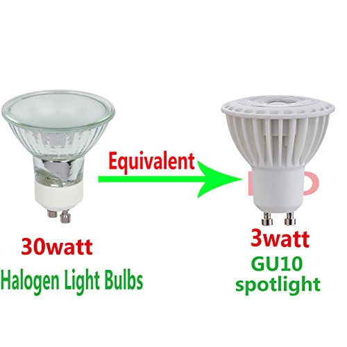 (Pack of 1) Siliconcontrolled Dimmable GU10 LED Spotlight light Bulbs 3W Soft White 3000K 300lumen AC/DC120Volts 40W Halogen Bulbs Equivalent 38 Degree Beam ()