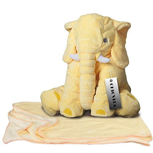 Yellow Elephant Pillow Back Large Stuffed Doll Baby Toy Animals Plush w/ Blanket eBay