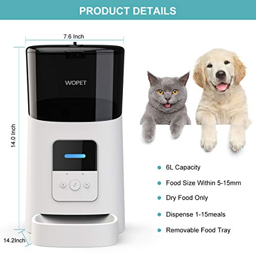 WOPET 6L Automatic Cat Feeder,Wi-Fi Enabled Smart Pet Feeder for Cats and Dogs,Auto Dog Food Dispenser with Portion…