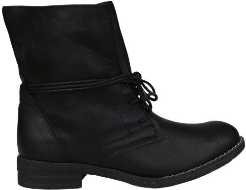 modische Damen Sommer Biker Boots Combat Boot schwarz Schnürer Stiefeletten