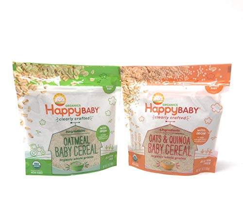 Happy Baby Clearly Crafted Cereal 2 Flavors Whole Grain Oats and Quinoa & Oatmeal With Iron to Support Babys Brain Development Packed in Resealable Pouch