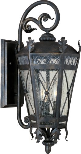 Maxim 30455CDAT Canterbury 3-Light Outdoor Wall Lantern, Artesian Bronze Finish, Seedy Glass, CA Incandescent Incandescent Bulb , 60W Max., Dry Safety Rating, Standard Dimmable, Fabric Shade Material, 6048 Rated Lumens