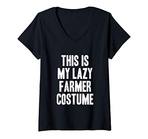 Womens This is my lazy Farmer costume halloween gift V-Neck T-Shirt -
