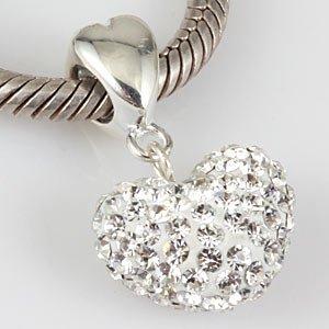 """Andante-Stones perle cristal Dangle Bead Argent 925 original et massif """"cœur"""" BLANC pour pendentif ou élément pour bracelet tressé + Étui en organza"""