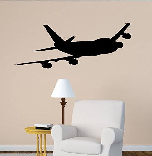 Airplane Wall Decal Boeing 747 Jet Aircraft Vinyl Wall Sticker Office Aviation Room Decor College Dorm Decor Kids Boys Child Room Sticker (10 X 27 inches) by aluckyhorseshoe