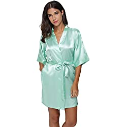 The Bund womens Pure Colour Short Kimono Robes with Oblique V-Neck Aquamarine XX-Large