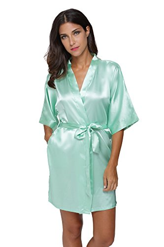 The Bund womens Pure Colour Short Kimono Robes with Oblique V-Neck Aquamarine XX-Large -