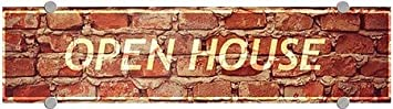 5-Pack 24x6 Open House Ghost Aged Brick Premium Brushed Aluminum Sign CGSignLab