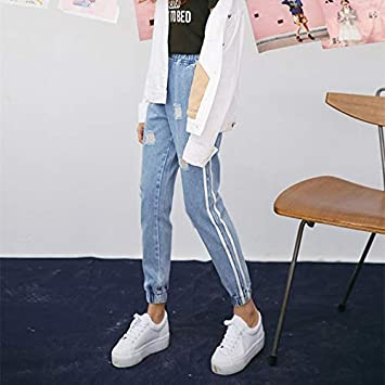 Amazon.com: TreeMart New Vintage Holes Jeans Women Casual ...