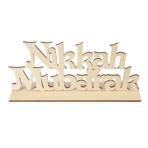 - EA-STONE Eid Mubarak Ramadan Decorations,Nikkah Mubarak Wooden Sign Plaque Art DIY Alphabet Ornaments Home Decoration Craft Desktop Table Ornament