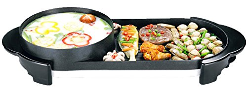 Unichart 2 in 1 hot pot and BBQ grill Smokeless Korean Hot-pot Design Multi-function Electric Oven BBQ Non-stick