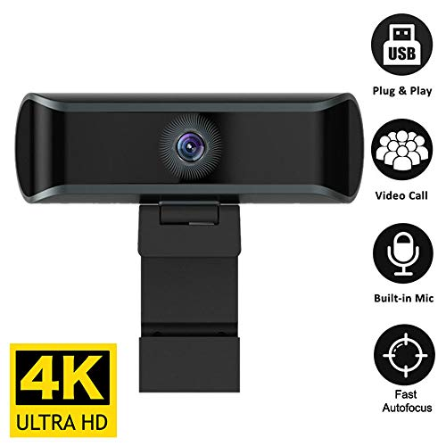 Webcam, 1080p Live Streaming Camera with Stereo Microphone, Desktop or Laptop USB Webcam for Widescreen Video Calling and Recording (4K)