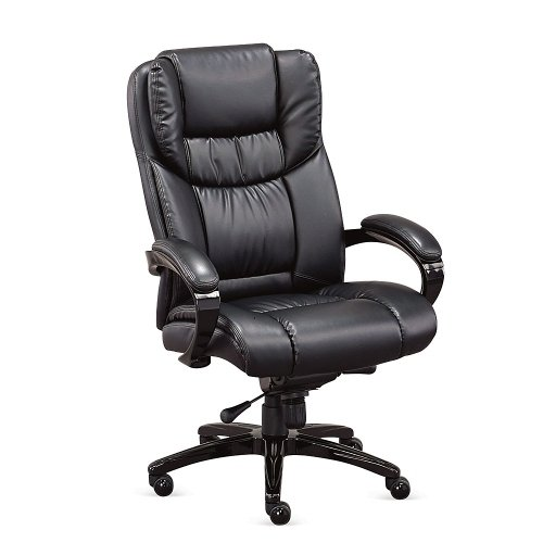 Morgan Executive Faux Leather Chair Black Faux Leather/High Gloss Black Frame