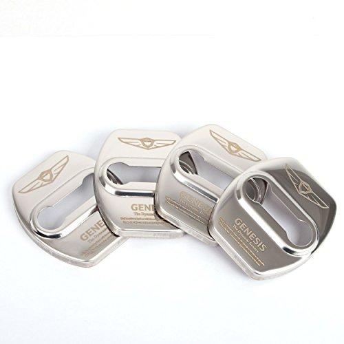 Four1Korea Stainless Steel Door Lock Striker Cover Emblem Laser Marking Trim for Hyundai Genesis G80 (Silver)