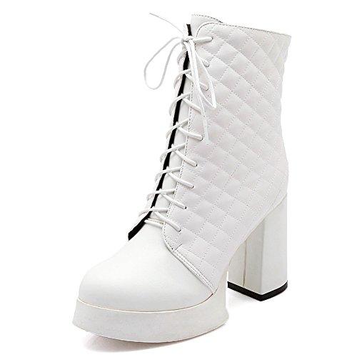 Reißverschluss Weiß COOLCEPT Stiefel Heels Damenmode qxqOaU1wR
