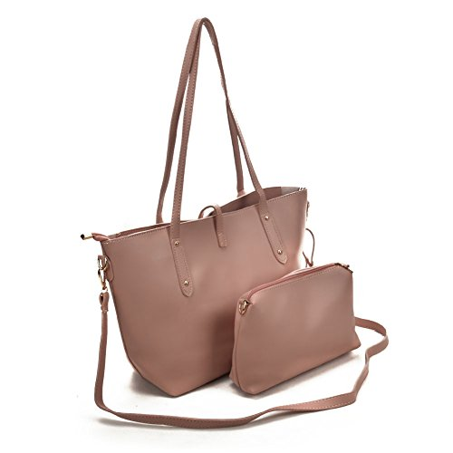 Women 2 SALLY Tote Pink Leather Ladies YOUNG Faux Large Shoulder Purses Bags Fashion Set Suede Pieces ggxq7aEw