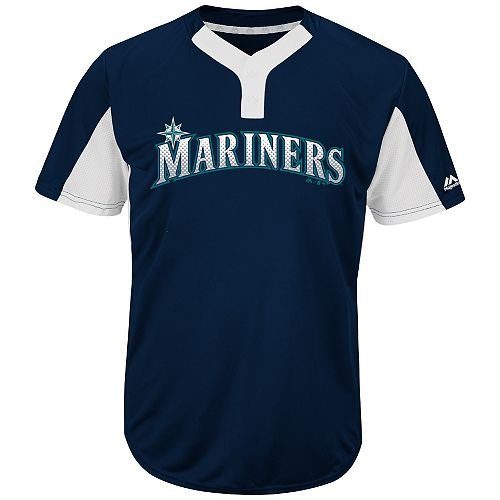 Seattle Mariners Mens Jerseys - Blank Back Adult XL Seattle Mariners 2-Button Placket Cool-Base MLB Licensed Jersey
