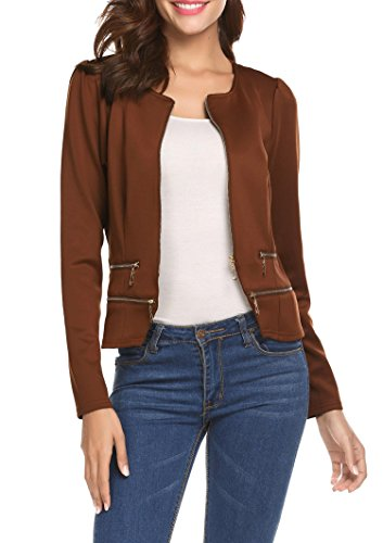 Pinspark Women's Work Office Blazer Solid Zipper Cardigan - Brown Blazer