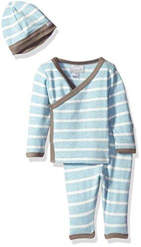 Coccoli Baby Boys' Blue Contrast Rib Knit Cotton Take Me Home, Heather Blue/Cream Stripes, 1 Months