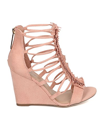 Heel Faux Layered Toe Women Blush GH98 Fringe Fringe Breckelles Caged by Suede Sandal Wedge Open fzpnUfwq