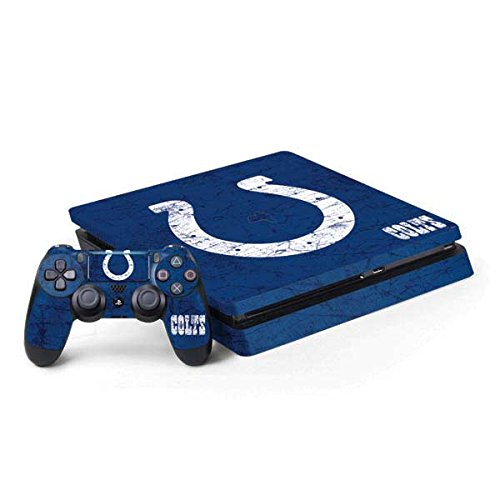 Skinit NFL Indianapolis Colts PS4 Slim Bundle Skin - Indianapolis Colts Distressed Design - Ultra Thin, Lightweight Vinyl Decal Protection