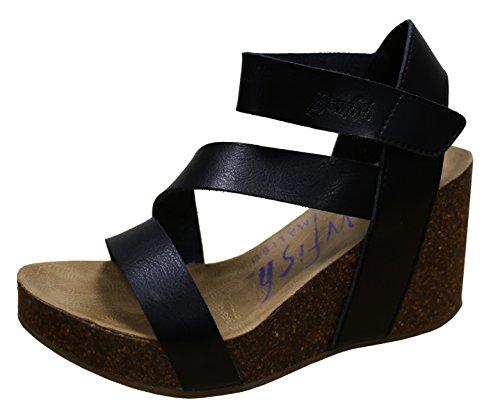 Blowfish hapuku Black Dyecut PU Womens Wedge Sandals Size 10M (Sandals 10 Wedge Size)