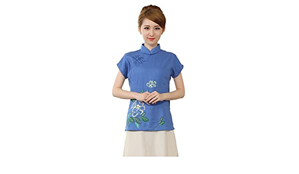 YueLian Verano Mujeres Estilo Chino Retro Elegante Manga Corta con Aberturas Traje de Espiga Ropa China Blusa Dril Azul (S): Amazon.es: Ropa y accesorios