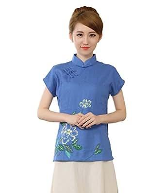 YueLian Verano Mujeres Estilo Chino Retro Elegante Manga Corta con Aberturas Traje de Espiga Ropa China Blusa Dril Azul (S)