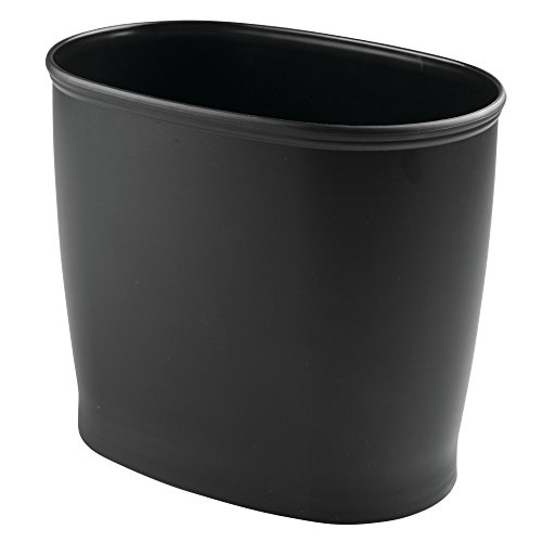 MetroDecor mDesign Oval Shatter-Resistant Plastic Small Trash Can Wastebasket, Garbage Container Bin for Bathrooms, Kitchens, Home Offices, Dorm Rooms - Black (Bins Plastic Waste)