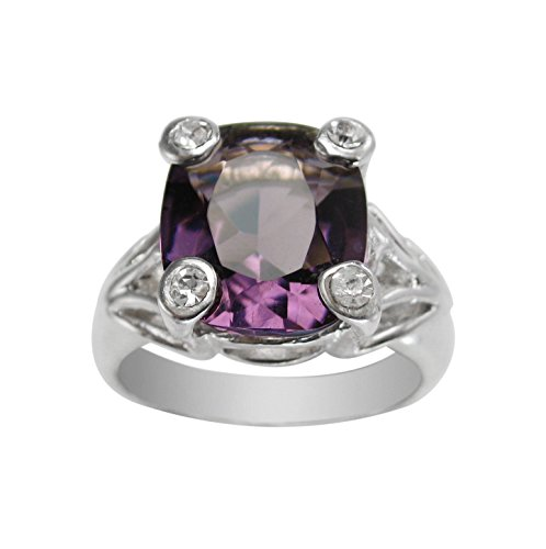 Sterling Silver Four Points Crystal Prongs Cocktail Ring, Purple, Size 9 (Sterling Silver Four Point)