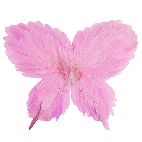 YiZYiF Kids Girls Butterfly Feather Wings for Masquerade Halloween Fairy Cosplay Party Photography Costume Accessory Pink One Size