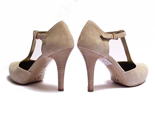 Nero Giardini 10252D scarpe da donna in camoscio col. Safari con cinturino tacco cm. 9 plateau interno cm.2,num. 38
